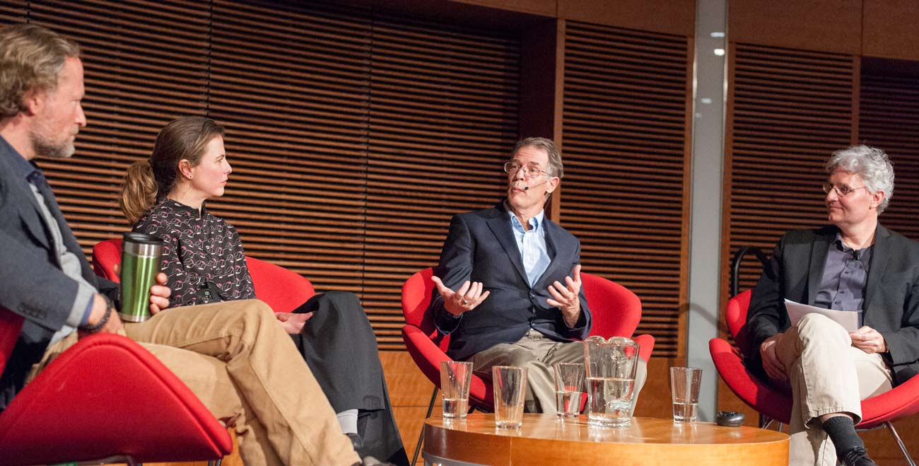 Photo of the Imagining Possible Futures panel with Kim Stanley Robinson by Nathan Jandl