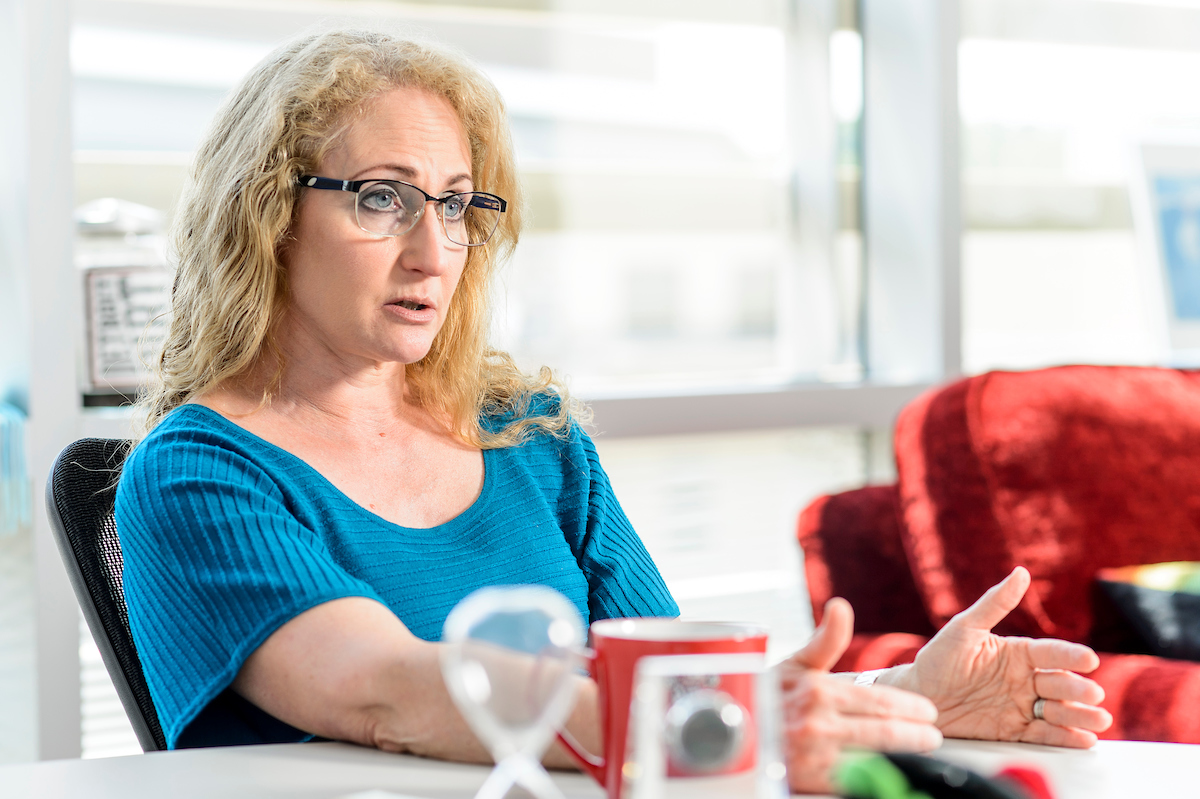 Photo of Jo Handelsman at her desk