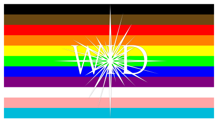 Pride flag with the WID logo